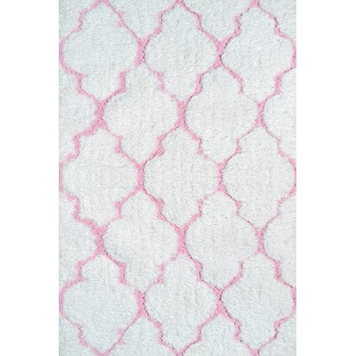 Handmade White/Pink Area Rug Rug Size: 28 x 48