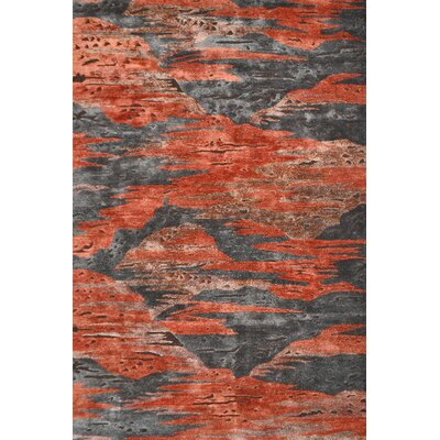 Handmade Red/Gray Area Rug Rug Size: 5 x 8