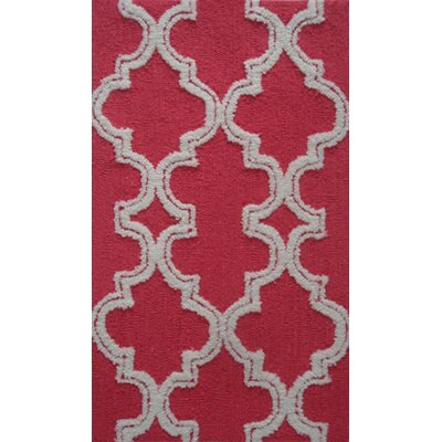 Handmade Raspberry/White Area Rug