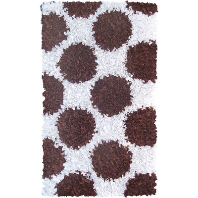 Handmade Brown and White Area Rug Rug Size: 28 x 48