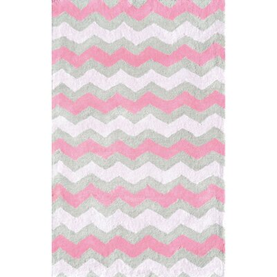 Handmade Pink and Gray Area Rug Rug Size: Rectangle 28 x 48