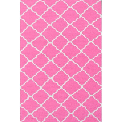 Handmade Pink and White Area Rug Rug Size: 28 x 48