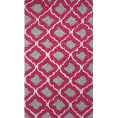 Handmade Gray/Raspberry Area Rug Rug Size: 110 x 210