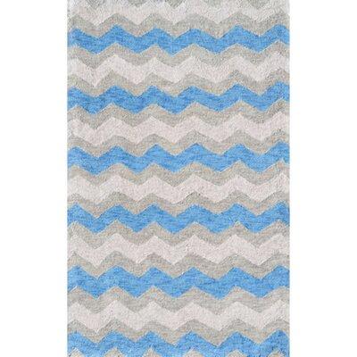 Handmade Blue/Gray Area Rug Rug Size: 28 x 48