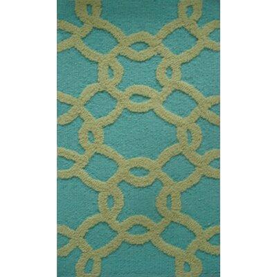 Handmade Aqua/Sage Area Rug Rug Size: 14 x 23