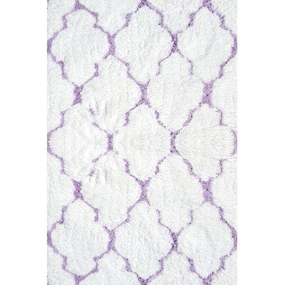 Handmade Purple/White Area Rug Rug Size: 28 x 48