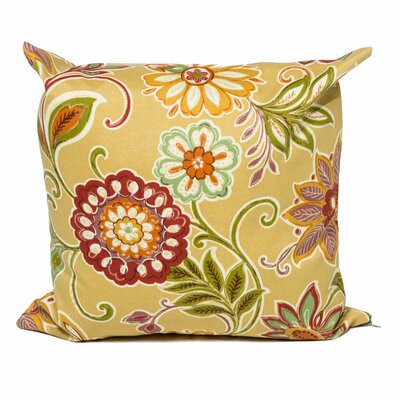 Golden Floral Outdoor Throw Pillow