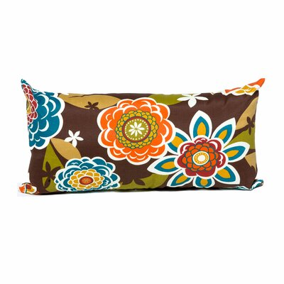 Retro Floral Outdoor Lumbar Pillow
