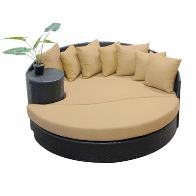 Newport Circular Sun Daybed with Cushions Fabric: Sesame