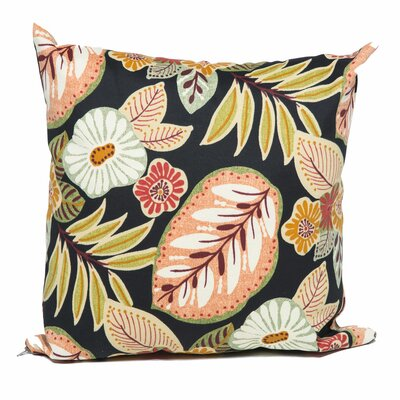 Tropical Floral Outdoor Throw Pillow Fabric: Black