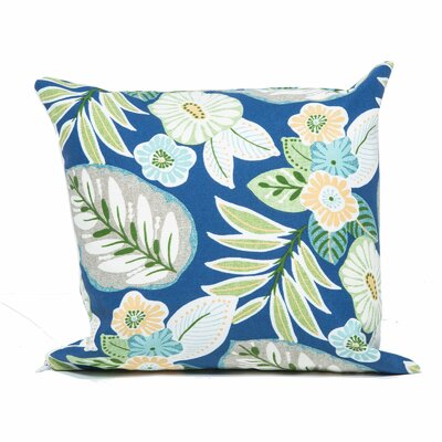Tropical Floral Outdoor Throw Pillow Fabric: Blue