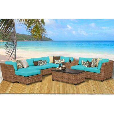 Laguna 10 Piece Rattan Sectional Seating Group with Cushion Fabric: Aruba