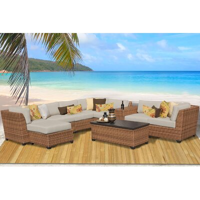Laguna 10 Piece Rattan Sectional Seating Group with Cushion Fabric: Beige