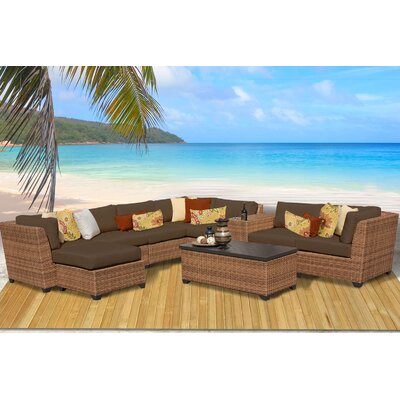 Laguna 10 Piece Rattan Sectional Seating Group with Cushion Fabric: Cocoa