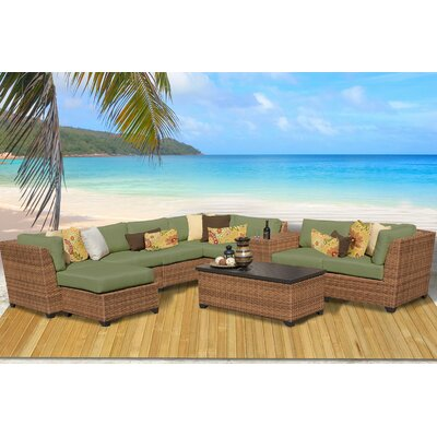 Laguna 10 Piece Rattan Sectional Seating Group with Cushion Fabric: Cilantro