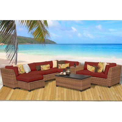 Laguna 10 Piece Rattan Sectional Seating Group with Cushion Fabric: Terracotta