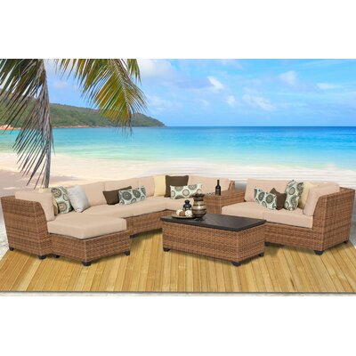 Laguna 10 Piece Rattan Sectional Seating Group with Cushion Fabric: Wheat