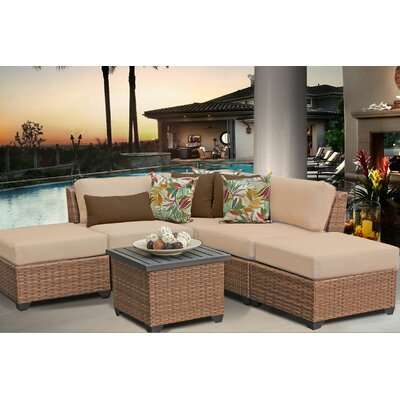 Laguna 6 Piece Sectional Seating Group with Cushion Fabric: Wheat