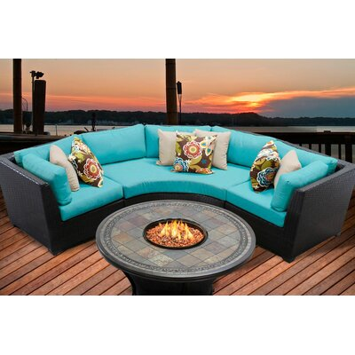Barbados 4 Piece Fire Pit Seating Group with Cushion Fabric: Aruba