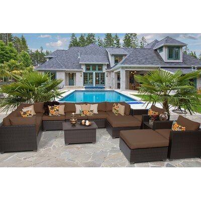Belle 13 Piece Sectional Seating Group with Cushion Fabric: Cocoa