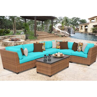 Laguna 7 Piece Sectional Seating Group with Cushion Fabric: Aruba