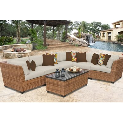 Laguna 7 Piece Sectional Seating Group with Cushion Fabric: Beige