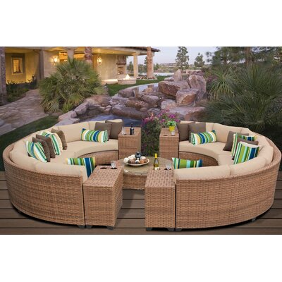 Laguna 11 Piece Rattan Sectional Seating Group with Cushions Fabric: Wheat