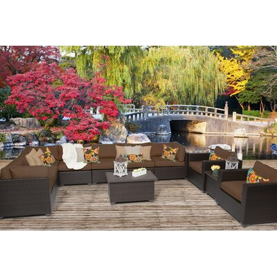Belle 11 Piece Sectional Seating Group with Cushion Fabric: Cocoa
