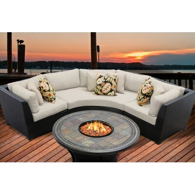 Barbados 4 Piece Fire Pit Seating Group with Cushion Fabric: Beige