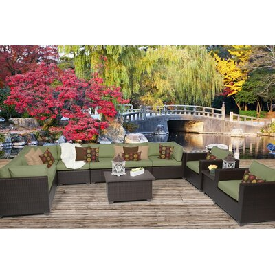 Belle 11 Piece Sectional Seating Group with Cushion Fabric: Cilantro