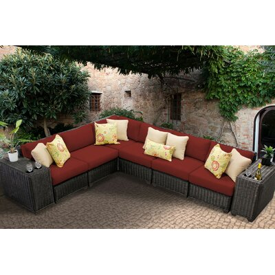 Venice 8 Piece Sectional Seating Group with Cushion Fabric: Terracotta