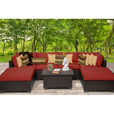 Belle 7 Piece Sectional Seating Group with Cushion Fabric: Terracotta