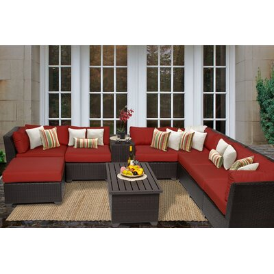 Barbados 10 Piece Sectional Seating Group with Cushion Fabric: Terracotta