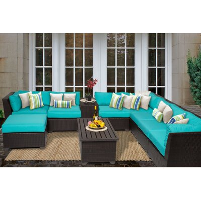 Barbados 10 Piece Sectional Seating Group with Cushion Fabric: Aruba