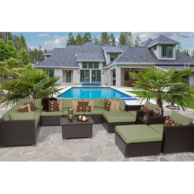 Belle 13 Piece Sectional Seating Group with Cushion Fabric: Cilantro