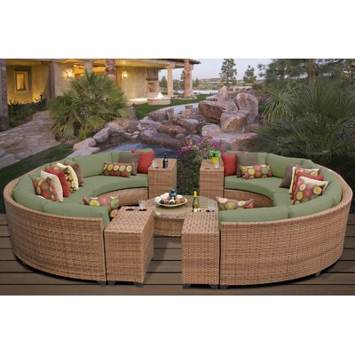 Laguna 11 Piece Rattan Sectional Seating Group with Cushions Fabric: Cilantro