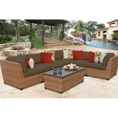 Laguna 7 Piece Sectional Seating Group with Cushion Fabric: Cocoa