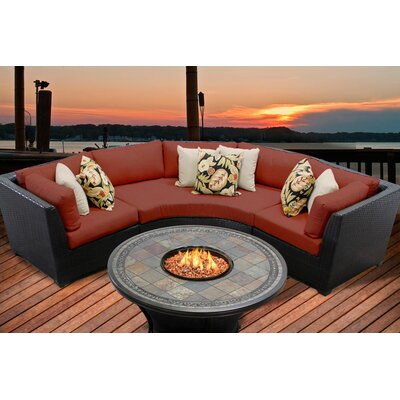 Barbados 4 Piece Fire Pit Seating Group with Cushion Fabric: Terracotta
