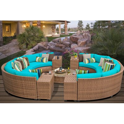 Laguna 11 Piece Rattan Sectional Seating Group with Cushions Fabric: Aruba