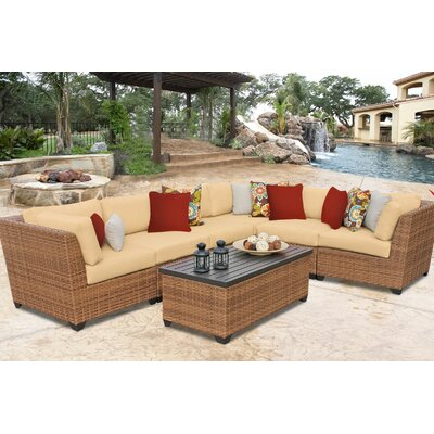 Laguna 7 Piece Sectional Seating Group with Cushion Fabric: Sesame