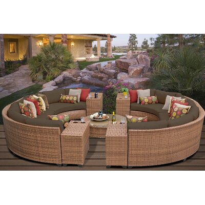 Laguna 11 Piece Rattan Sectional Seating Group with Cushions Fabric: Cocoa