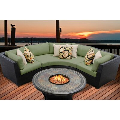 Barbados 4 Piece Fire Pit Seating Group with Cushion Fabric: Cilantro