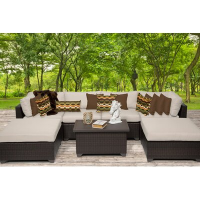 Belle 7 Piece Sectional Seating Group with Cushion Fabric: Beige