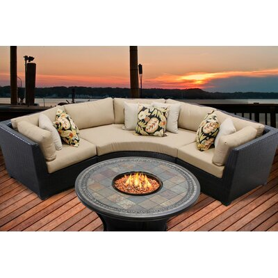 Barbados 4 Piece Fire Pit Seating Group with Cushion Fabric: Wheat