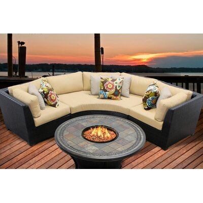 Barbados 4 Piece Fire Pit Seating Group with Cushion Fabric: Sesame