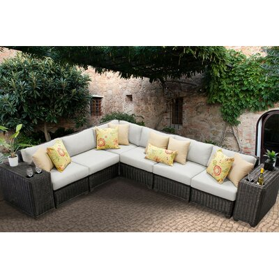 Venice 8 Piece Sectional Seating Group with Cushion Fabric: Beige