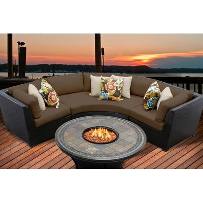 Barbados 4 Piece Fire Pit Seating Group with Cushion Fabric: Cocoa