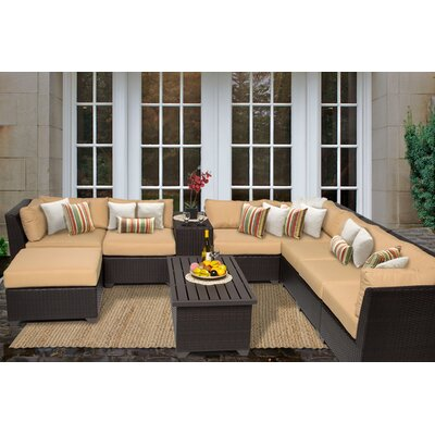 Barbados 10 Piece Sectional Seating Group with Cushion Fabric: Sesame