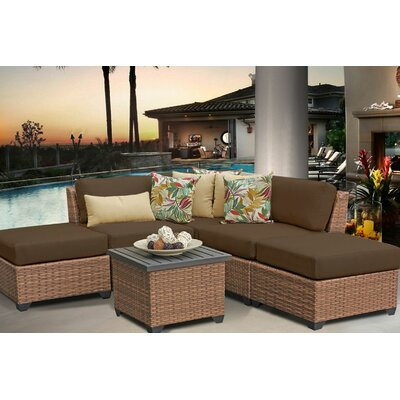 Laguna 6 Piece Sectional Seating Group with Cushion Fabric: Cocoa