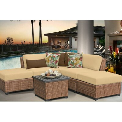 Laguna 6 Piece Sectional Seating Group with Cushion Fabric: Sesame